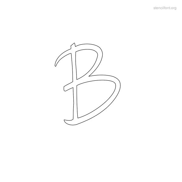Handwriting Stencil Outline B