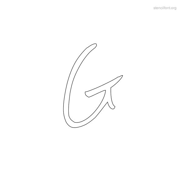 Handwriting Stencil Outline G
