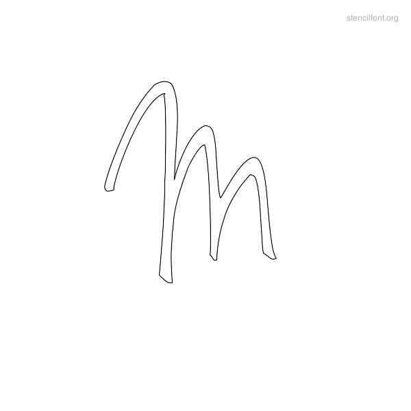 Handwriting Stencil Outline M