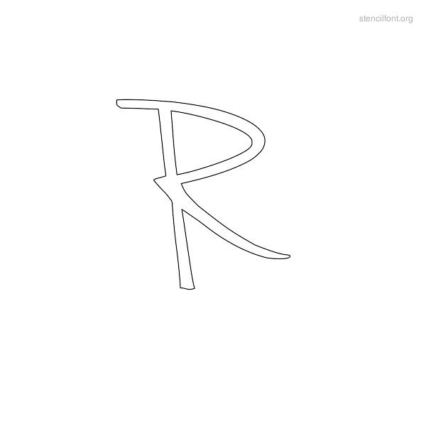 Handwriting Stencil Outline R