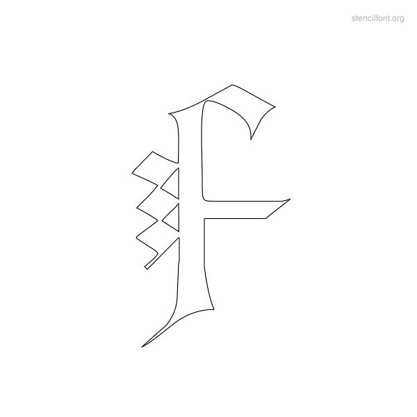 Old English Stencil Outline F