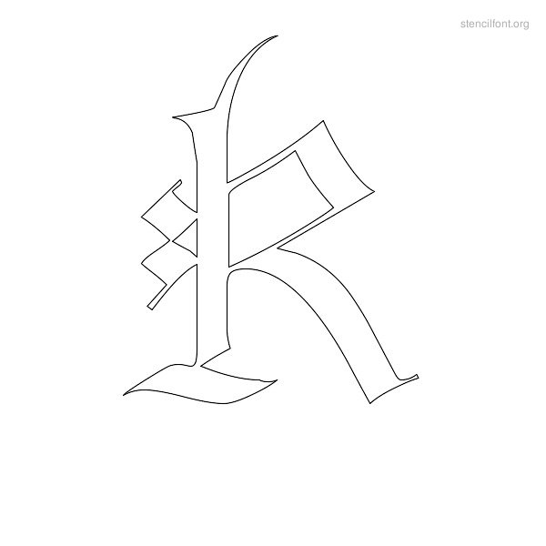 Old English Stencil Outline K