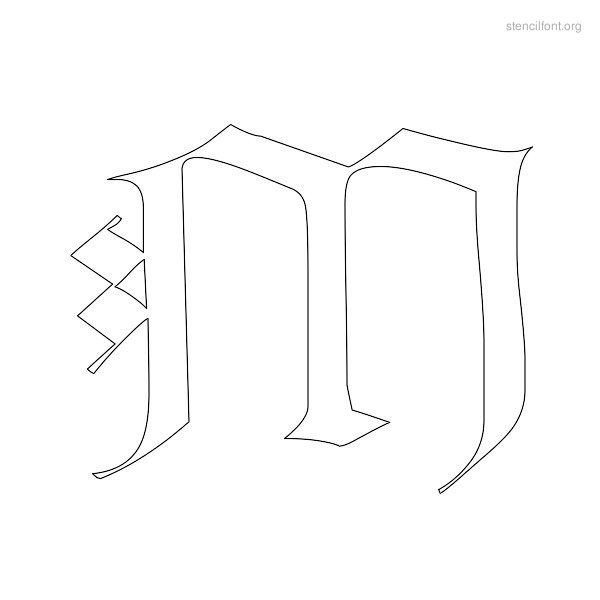Old English Stencil Outline M