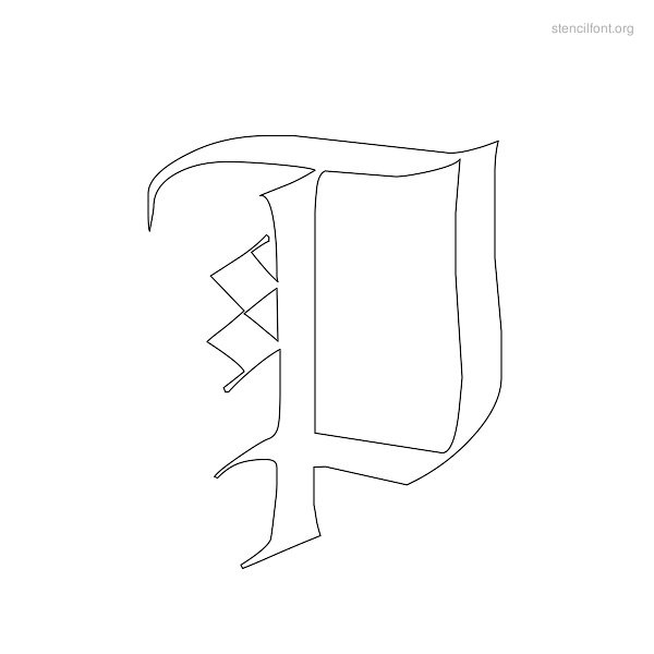 Old English Stencil Outline P