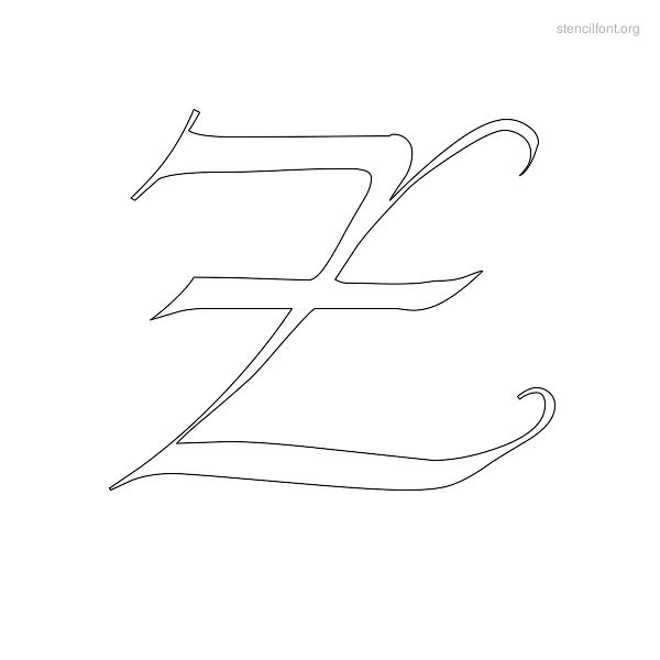 Old English Stencil Outline Z