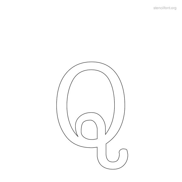 Typewriter Stencil Outline Q