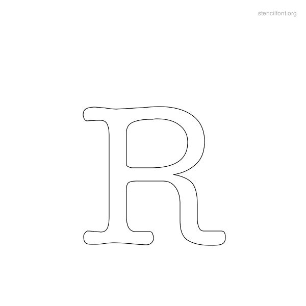 Typewriter Stencil Outline R