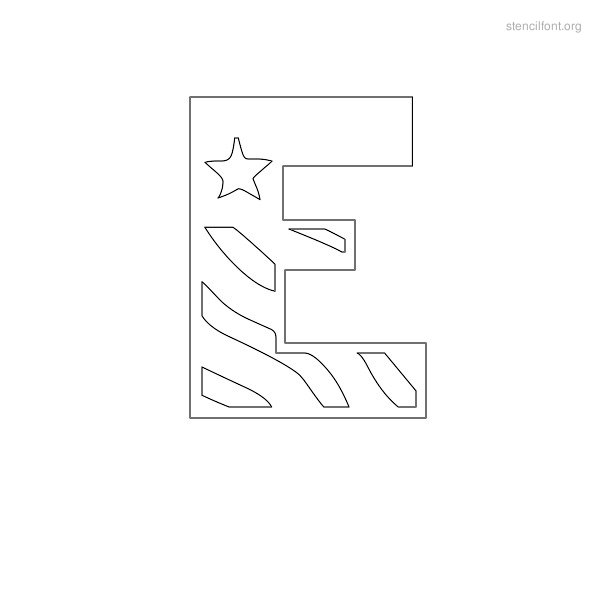 USA Styles Stencil Outline E