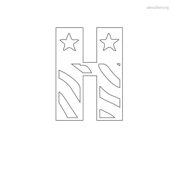 USA Styles Stencil Outline H