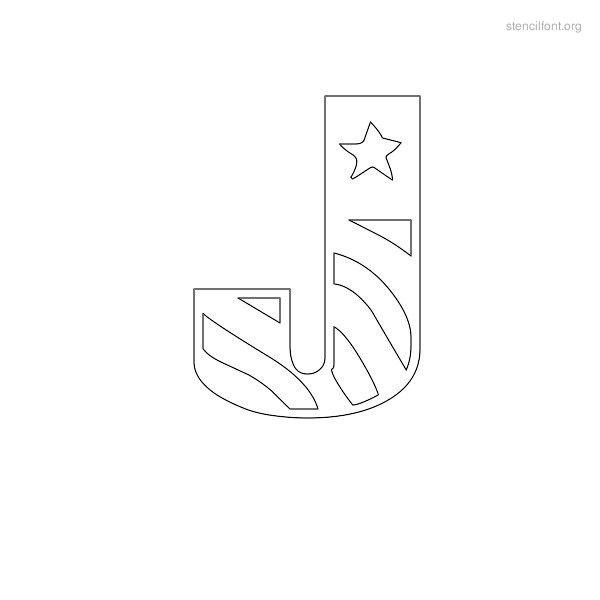 USA Styles Stencil Outline J