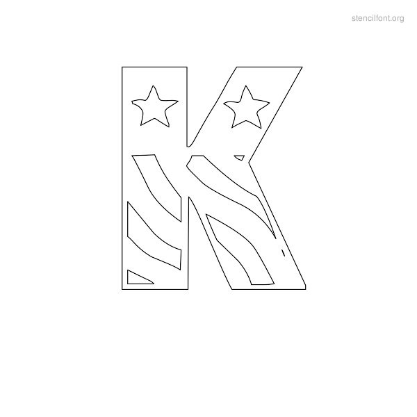 USA Styles Stencil Outline K