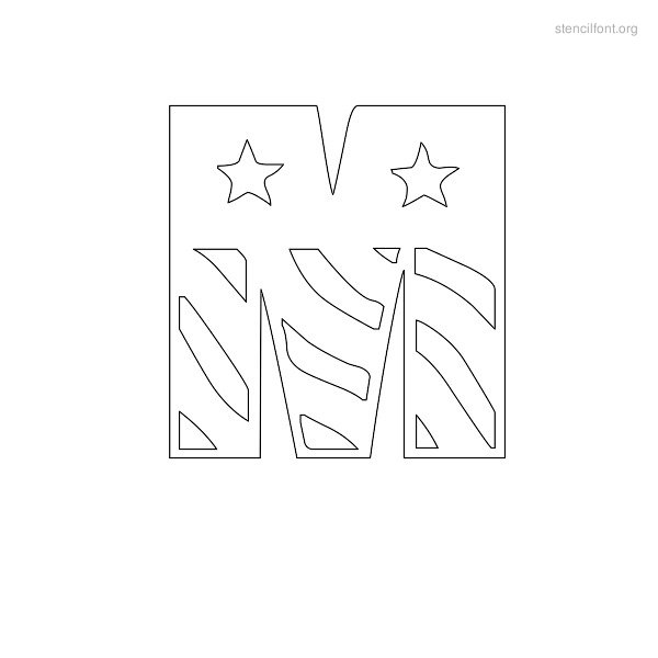USA Styles Stencil Outline M