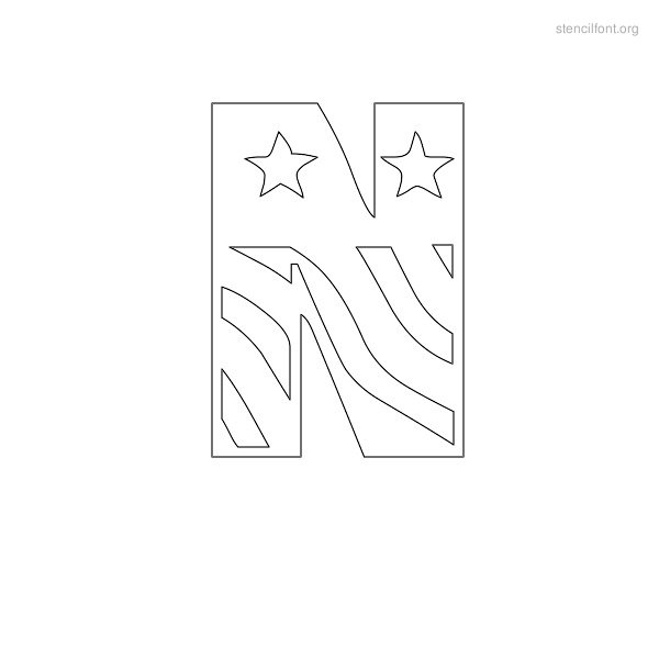 USA Styles Stencil Outline N