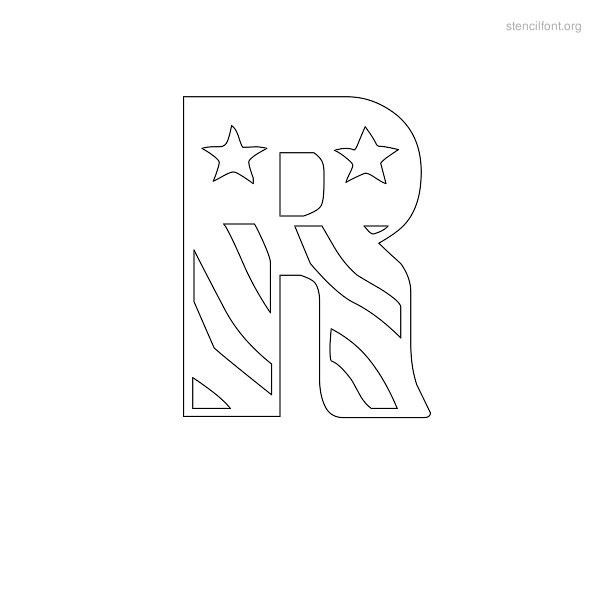USA Styles Stencil Outline R