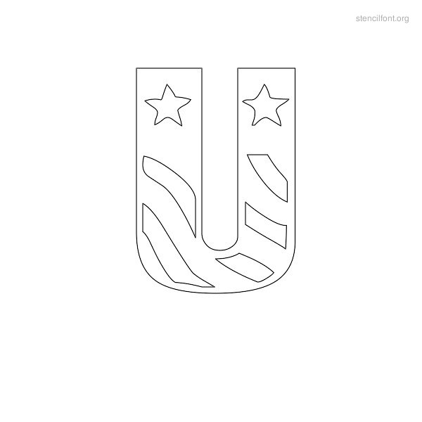 USA Styles Stencil Outline U