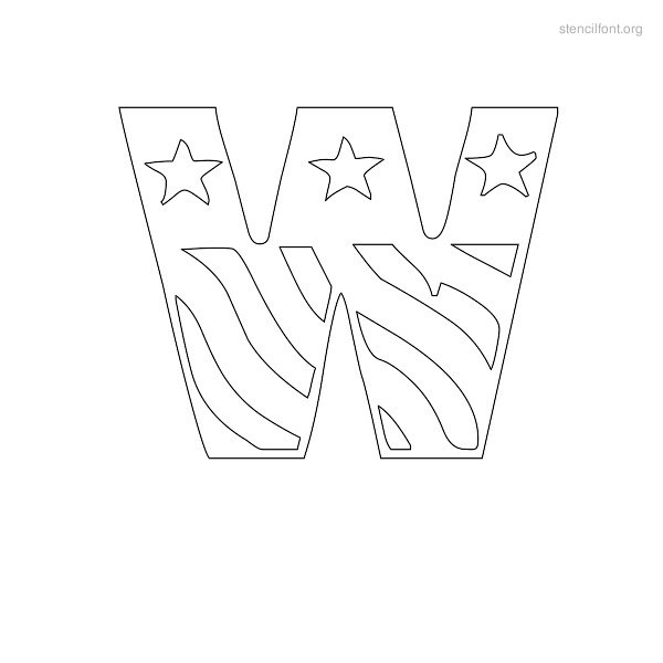 USA Styles Stencil Outline W
