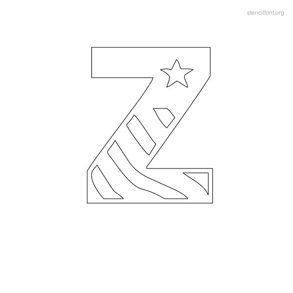 USA Styles Stencil Outline Z