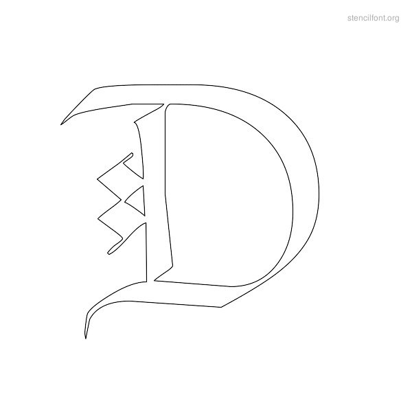 Old English Stencil Outline D