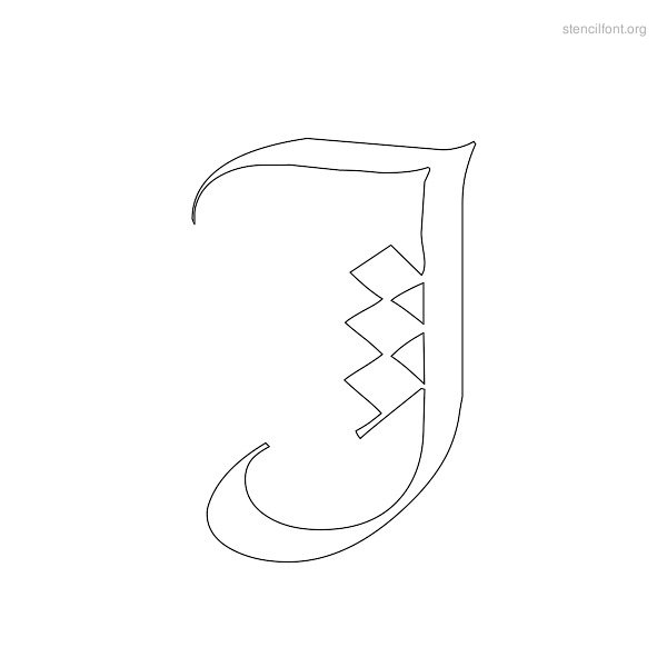 Old English Stencil Outline J
