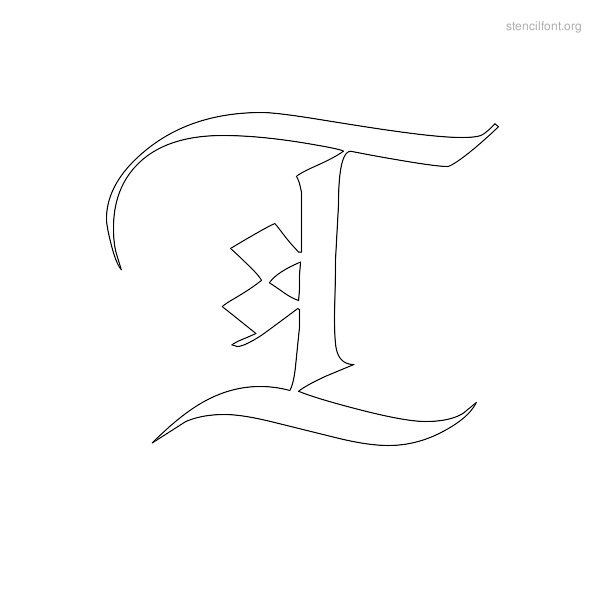 Old English Stencil Outline T