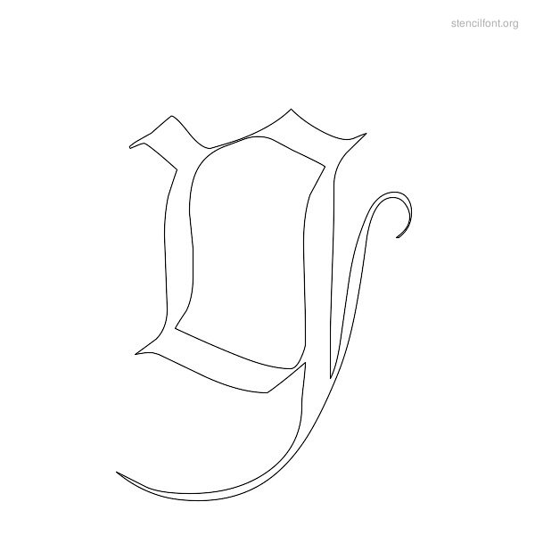 Old English Stencil Outline Y